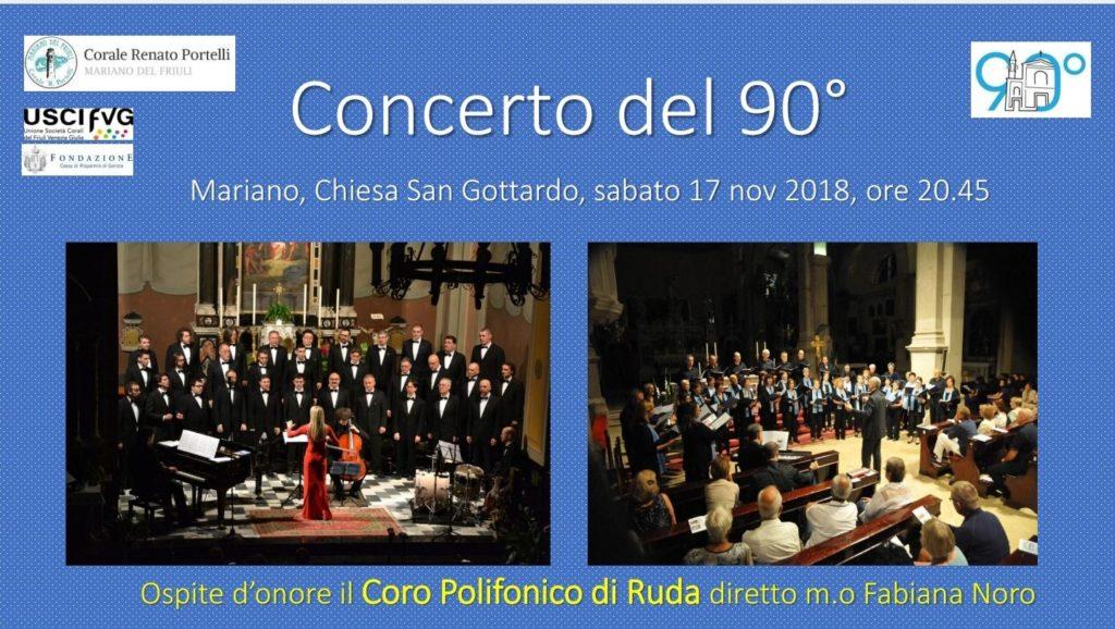 manifesto del concerto per i 90 anni del coro Portelli di Mariano